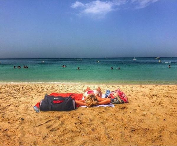 Dubai, beach, sunbathing